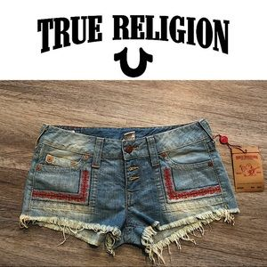 TRUE RELIGION FAYE EMBROIDERED DENIM SHORTS